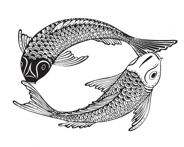 Dessinés à la main deux poissons koi (carpe japonaise)