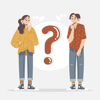 Dessinés à la main différentes personnes posant des questions