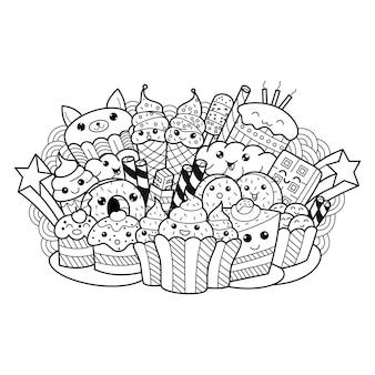 Dessinés à la main de doodle gâteau mignon