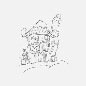 Dessinés à la main doodle illustration vectorielle dessins d'art au trait de noël
