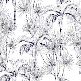 Dessinés à la main doodle ligne croquis des palmiers, île