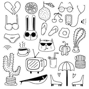 Dessinés à la main doodle lovely vector set
