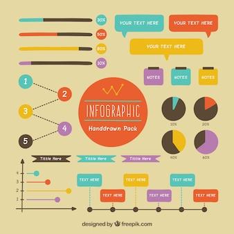 Dessinés à la main des éléments infographiques