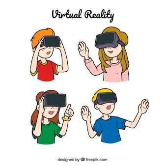 Dessinés à la main des enfants jouant avec la réalité virtuelle