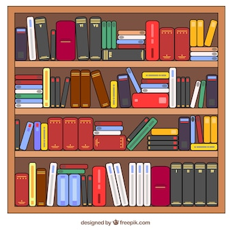 Dessinés à la main étagères de livres complets