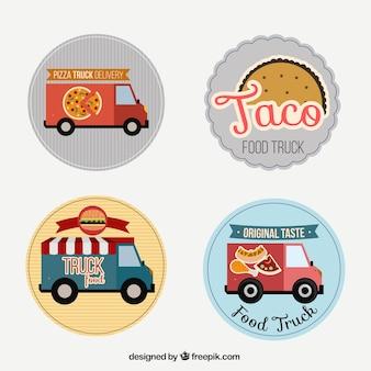 Dessinés à la main les étiquettes de camions de nourriture mexicaine