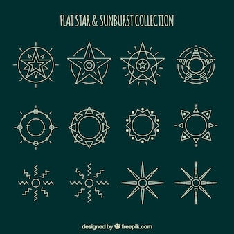 Dessinés à la main étoiles ornementales et sunbursts