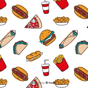 Dessinés à la main fast food pattern