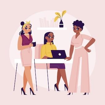Dessinés à la main des femmes entrepreneurs confiants au travail