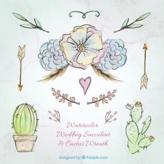 Dessinés à la main des fleurs à l'aquarelle et de cactus