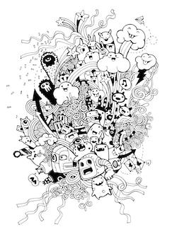 Dessinés à la main de fond de fête de doodle