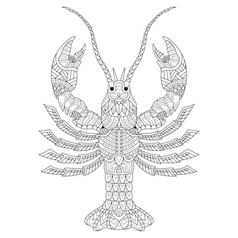 Dessinés à la main de homard dans un style zentangle