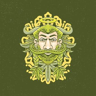 Dessinés à la main d'homme viking et de marijuana avec un style de tatouage à l'ancienne.