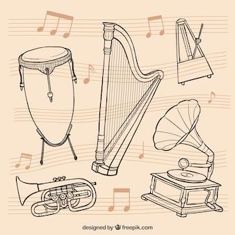 Dessinés à la main intruments de musique rétro