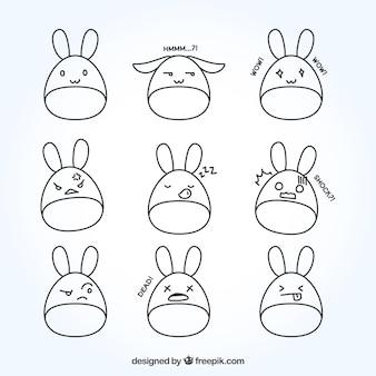Dessinés à la main lapins smileys