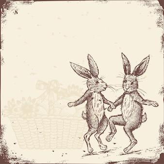 Dessinés à la main de lapins vintage