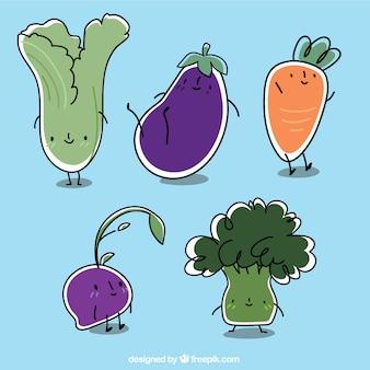 Dessinés à la main légumes mignons personnages