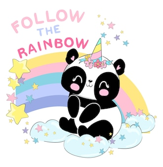 Dessinés à la main mignon bébé panda licorne et illustration vectorielle arc-en-ciel, été imprimé enfantin