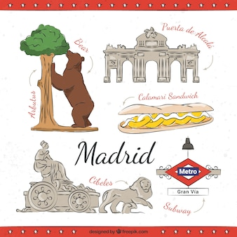 Dessinés à la main monuments madrid