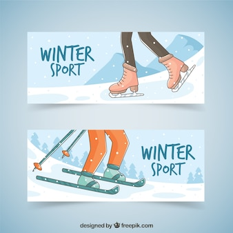 Dessinés à la main patinage et ski bannières