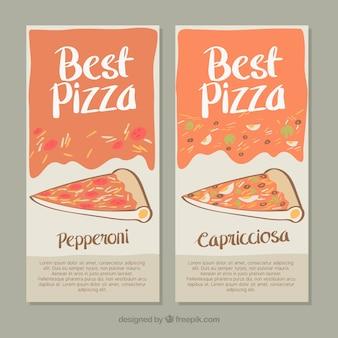Dessinés à la main pizzeria bannières