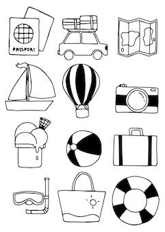 Dessinés à la main de plage été collection doodle jeu d'icônes