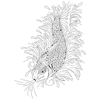 Dessinés à la main de poissons koi dans un style zentangle