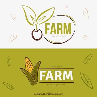 Dessinés à la main des produits agricoles logos
