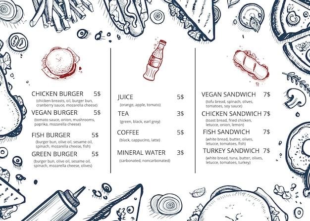 Dessinés à la main rétro de menu de nourriture de restaurant