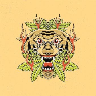 Dessinés à la main de tête de tigre et de marijuana avec un style de tatouage à l'ancienne.
