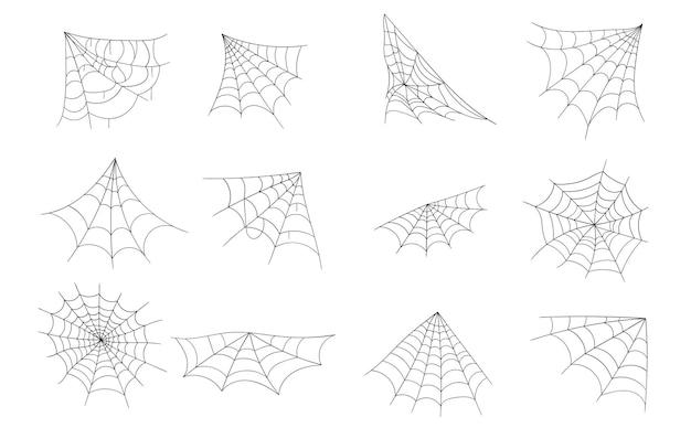 Dessinés à la main toile d'araignée ligne art croquis style spider web éléments effrayant effrayant image halloween