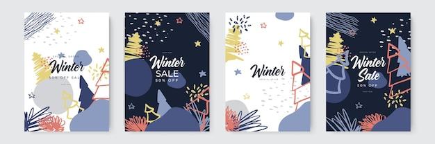 Dessinés à la main vecteur abstrait amusant vente d'hiver joyeux noël illustrations cartes de voeux modèle et...