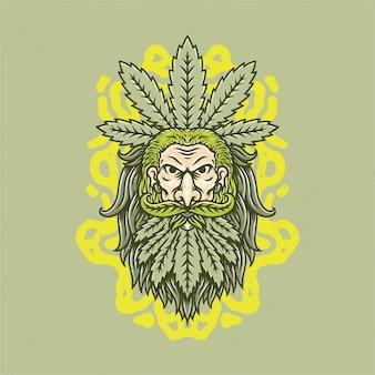 Dessinés à la main de vieil homme et de marijuana avec un style de tatouage old school.