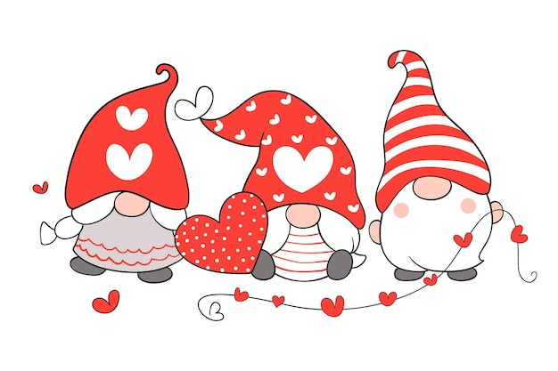 Dessinez d'adorables gnomes avec un petit cœur rouge pour la saint-valentin.