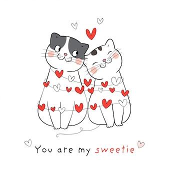 Dessinez l'amour de couple de chat avec peu de coeur pour la saint-valentin.
