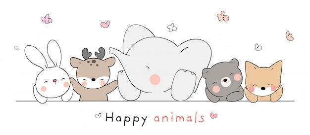 Dessinez un animal heureux sur blanc pour le printemps.