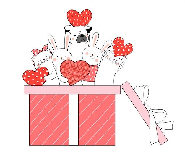 Dessinez un animal mignon dans une boîte cadeau pour valentine.