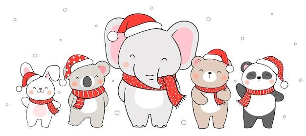 Dessinez des animaux heureux de bannière pour noël et l'hiver