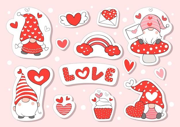 Dessinez des autocollants gnome d'amour pour la saint-valentin.