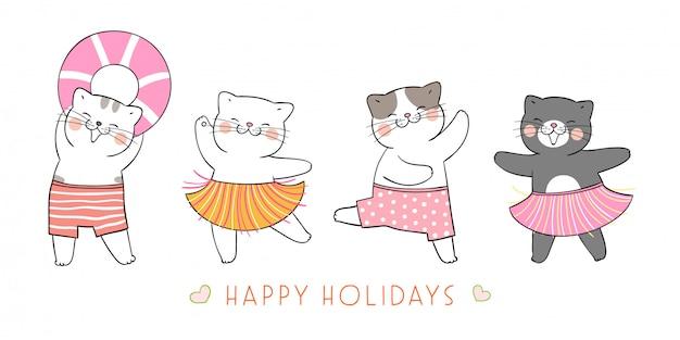 Dessinez la bannière chat drôle pour la saison estivale.