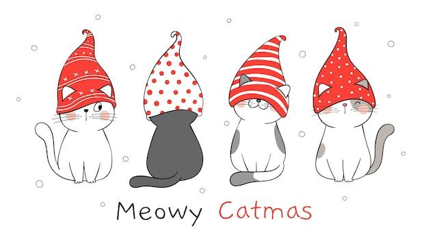 Dessinez une bannière de chat mignon avec un chapeau de gnome pour noël.