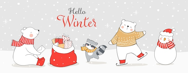 Dessinez la bannière drôle ours polaire et animal jouant dans la neige.