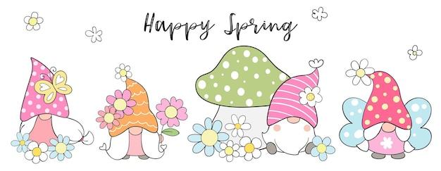 Dessinez une bannière de gnomes doux avec une fleur pour le printemps.