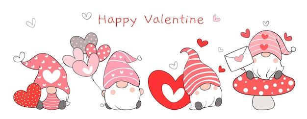 Dessinez une bannière de gnomes doux pour la saint-valentin.
