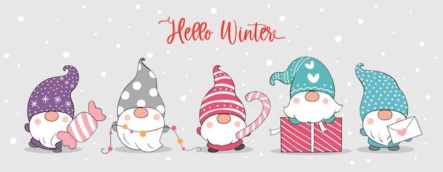 Dessinez une bannière de gnomes mignons dans la neige pour l'hiver