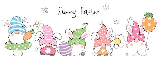 Dessinez une bannière de gnomes mignons pour pâques et le printemps