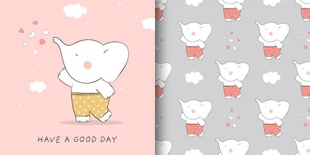 Dessinez une carte de voeux et imprimez un motif d'éléphant avec un petit cœur.