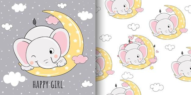 Dessinez une carte de voeux et imprimez un motif d'éléphant