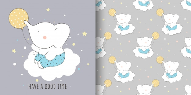 Dessinez une carte de voeux et un motif d'éléphant pour enfant.