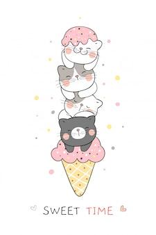 Dessinez le chat dans des cornets de crème glacée pour l'été temps si doux.
